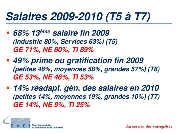 Salaires 2009-2010 (T5 à T7)