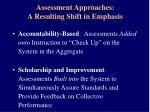 assessment approaches a resulting shift in emphasis