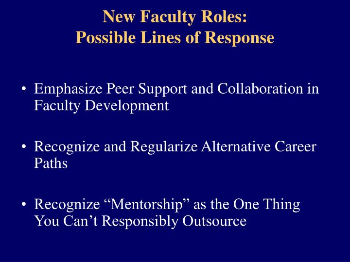 New Faculty Roles: