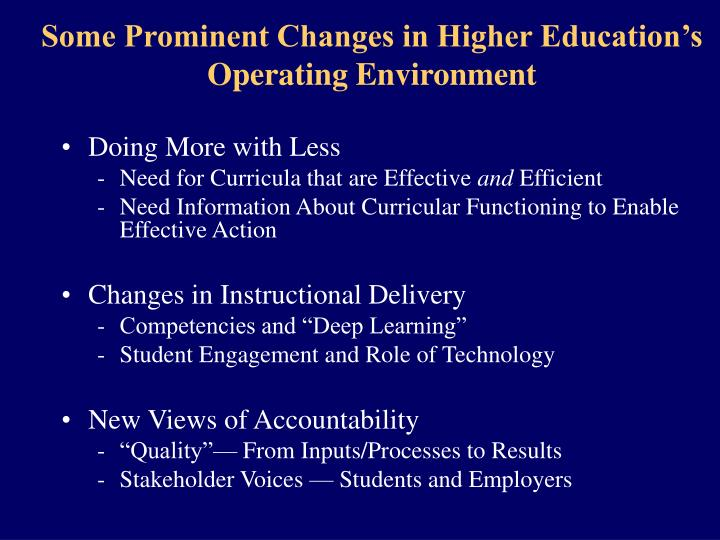 Some Prominent Changes in Higher Education's Operating Environment