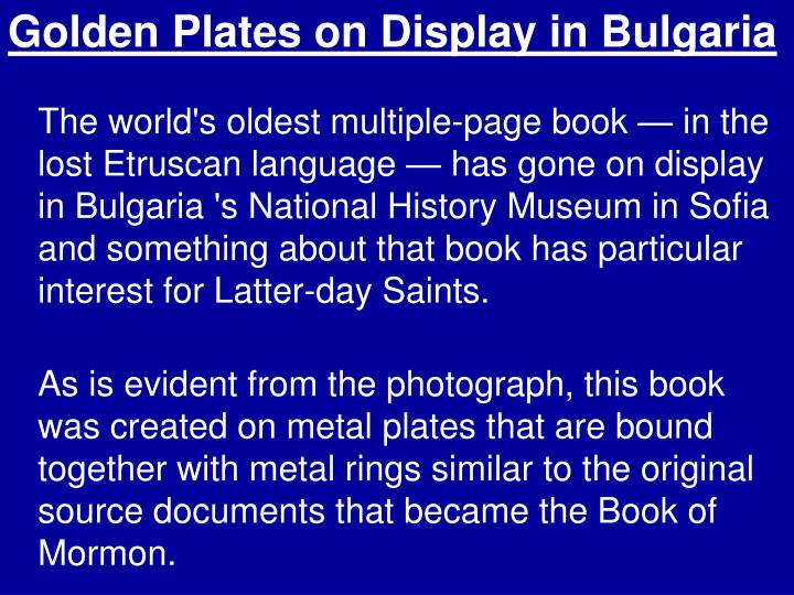 Golden Plates on Display in Bulgaria