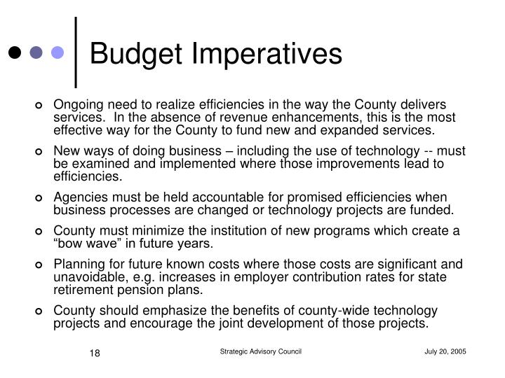 Budget Imperatives