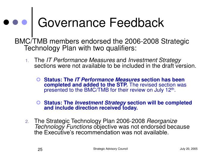 Governance Feedback