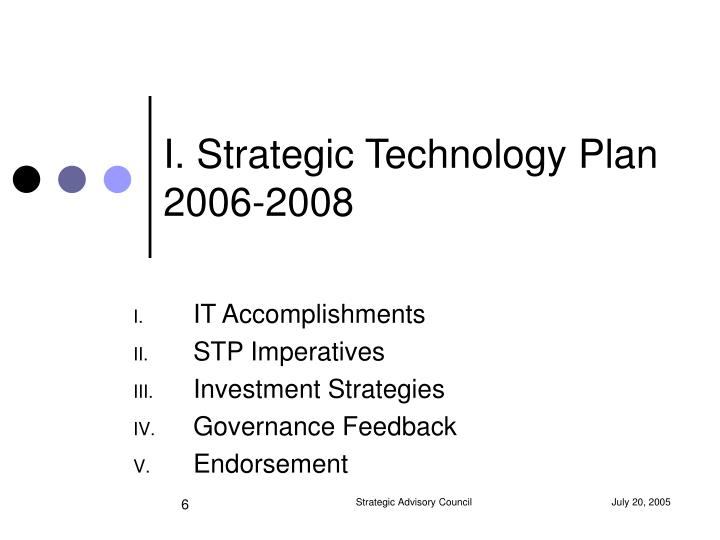 I. Strategic Technology Plan