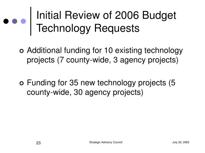 Initial Review of 2006 Budget Technology Requests