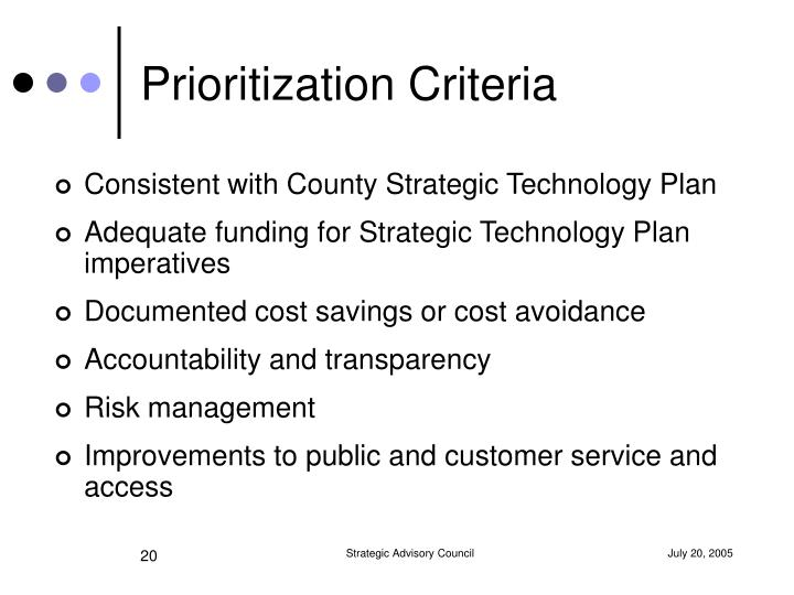 Prioritization Criteria