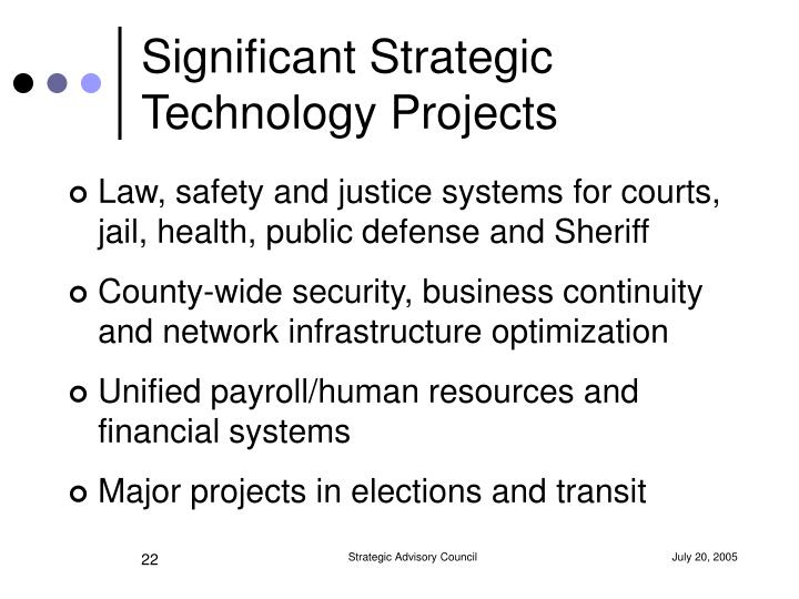 Significant Strategic Technology Projects