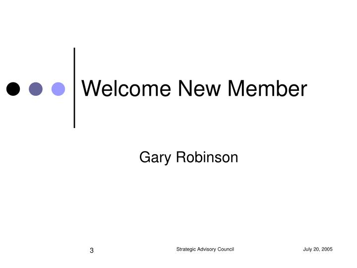 Welcome New Member