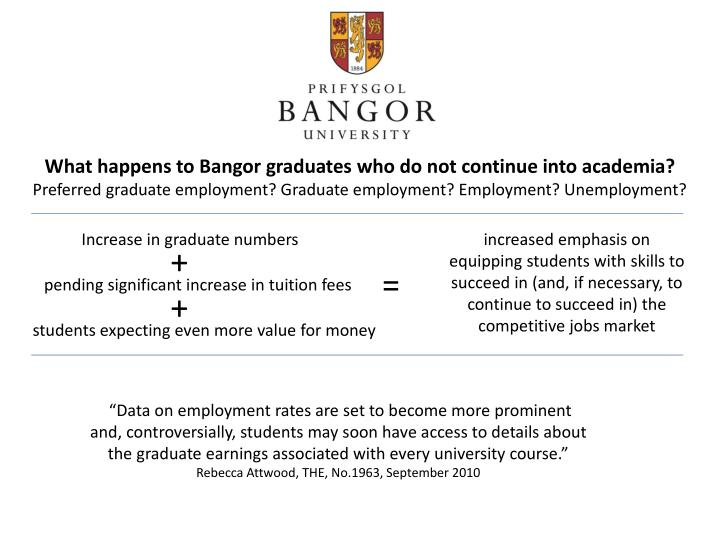 What happens to Bangor graduates who do not continue into academia?
