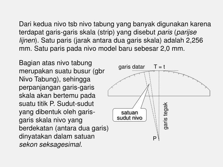 Dari kedua nivo tsb nivo tabung yang banyak digunakan karena terdapat garis-garis skala (strip) yang disebut