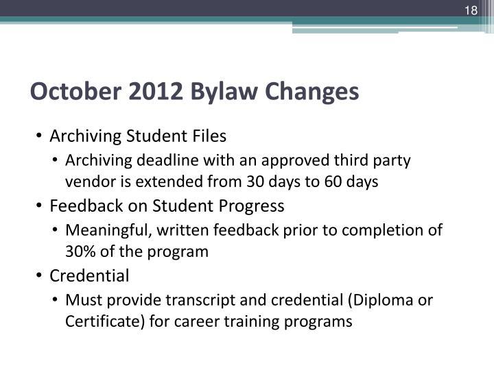 October 2012 Bylaw Changes