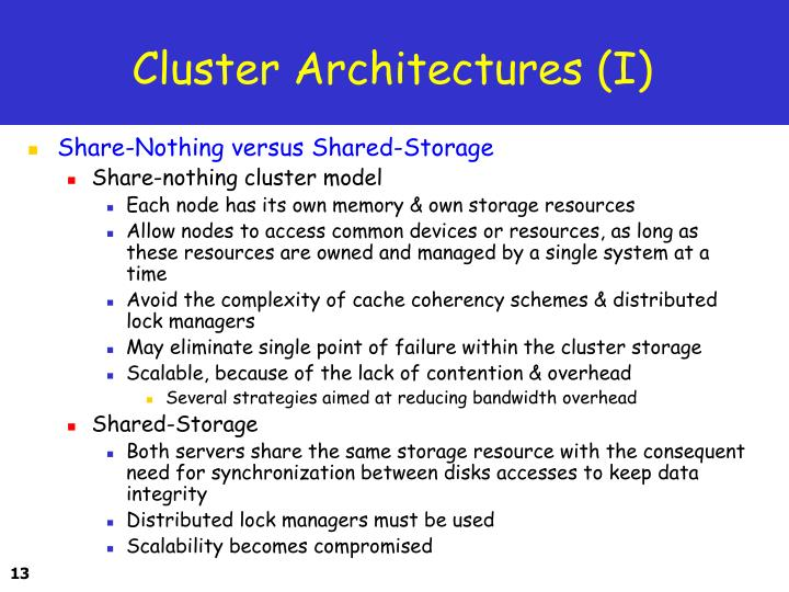Cluster Architectures (I)
