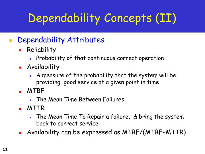 Dependability Concepts (II)