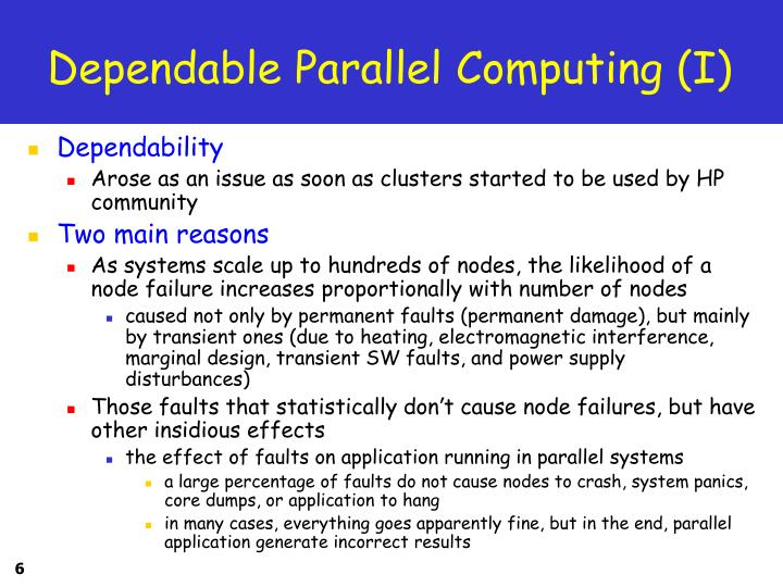 Dependable Parallel Computing (I)