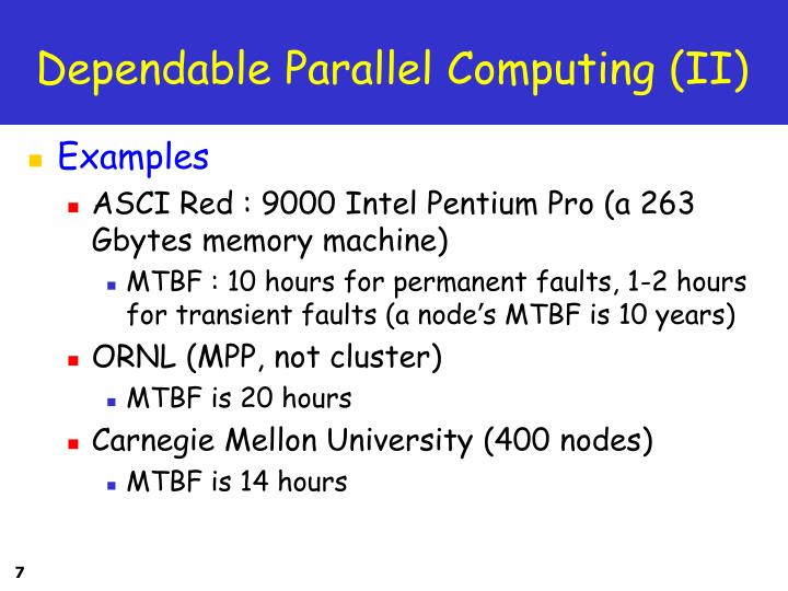Dependable Parallel Computing (II)