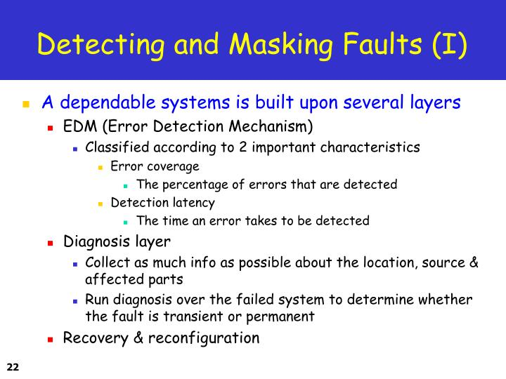 Detecting and Masking Faults (I)