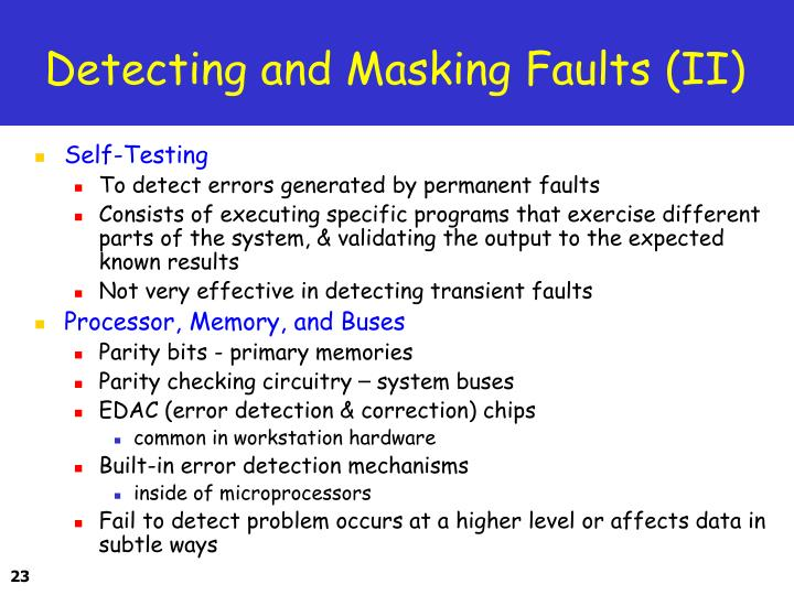 Detecting and Masking Faults (II)