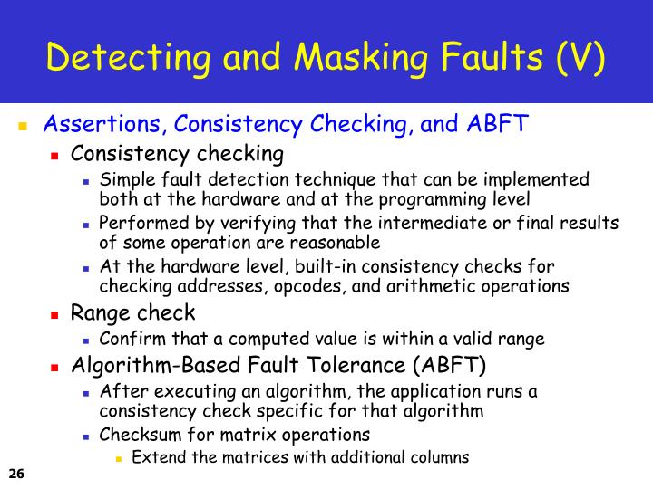Detecting and Masking Faults (V)