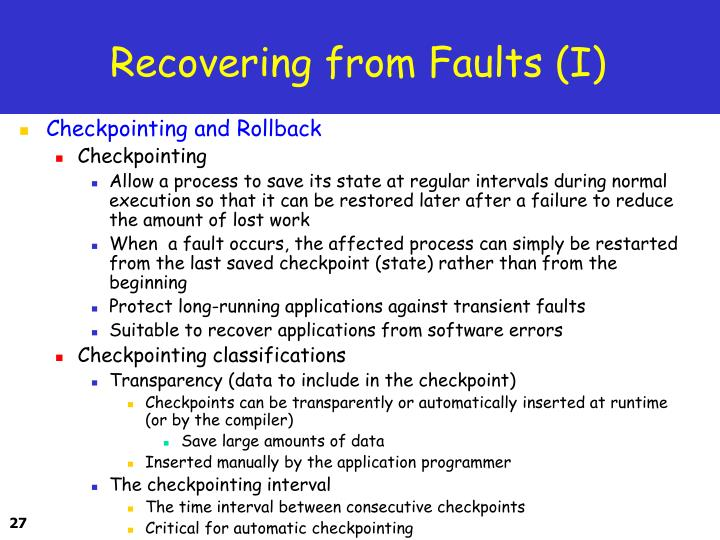 Recovering from Faults (I)