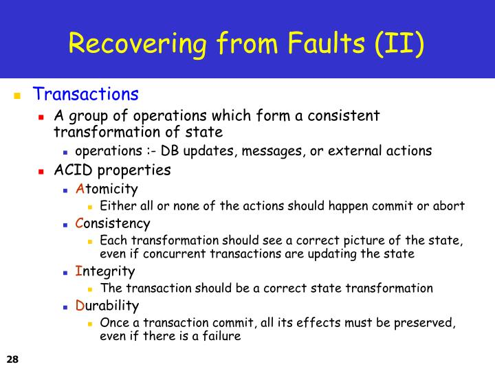 Recovering from Faults (II)