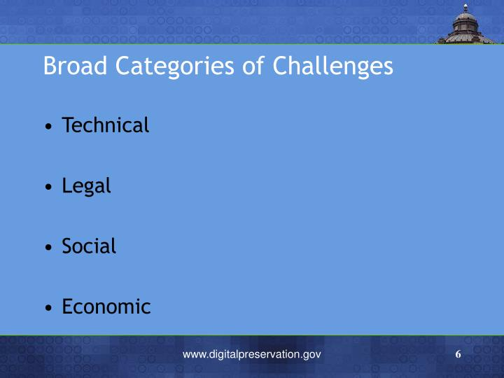 Broad Categories of Challenges