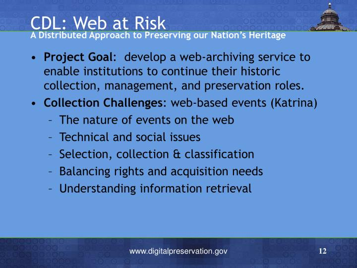 CDL: Web at Risk