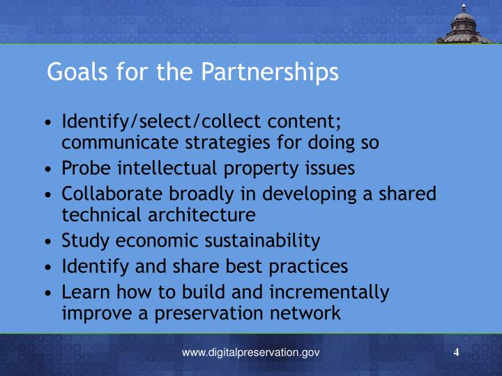 Goals for the Partnerships