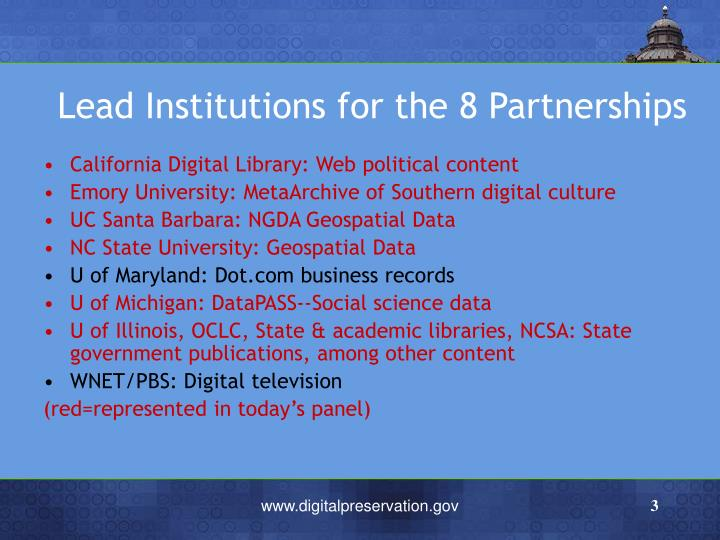 Lead institutions for the 8 partnerships