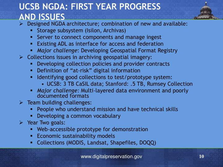 UCSB NGDA: FIRST YEAR PROGRESS