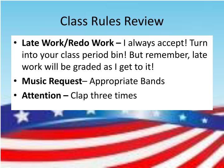 Class Rules Review