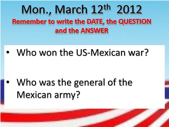 Mon., March 12