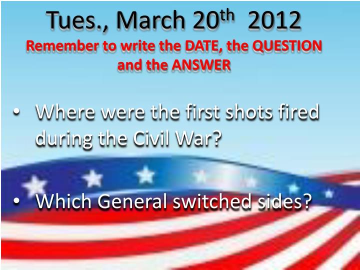 Tues., March 20