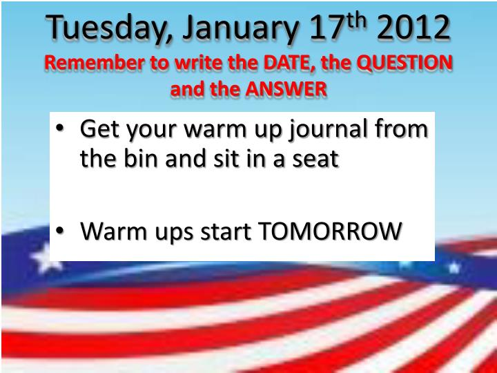 Tuesday, January 17