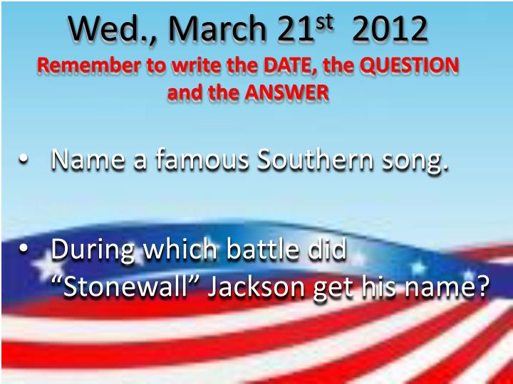 Wed., March 21