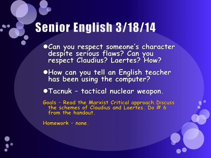 Senior English 3/18/14