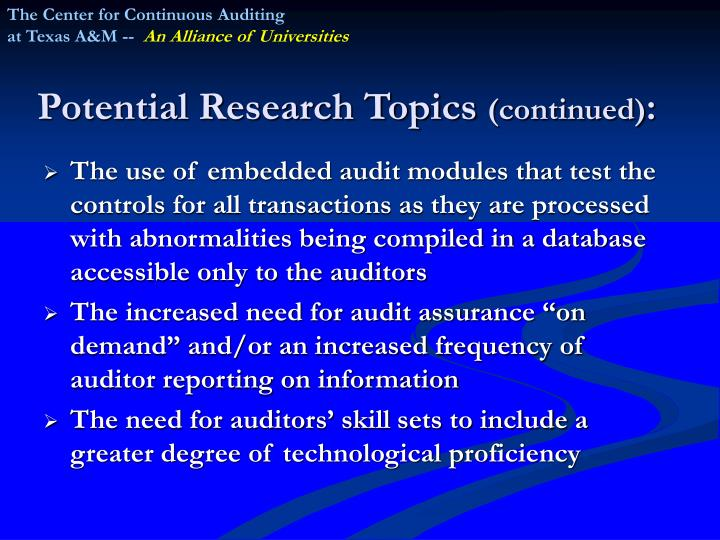 The Center for Continuous Auditing