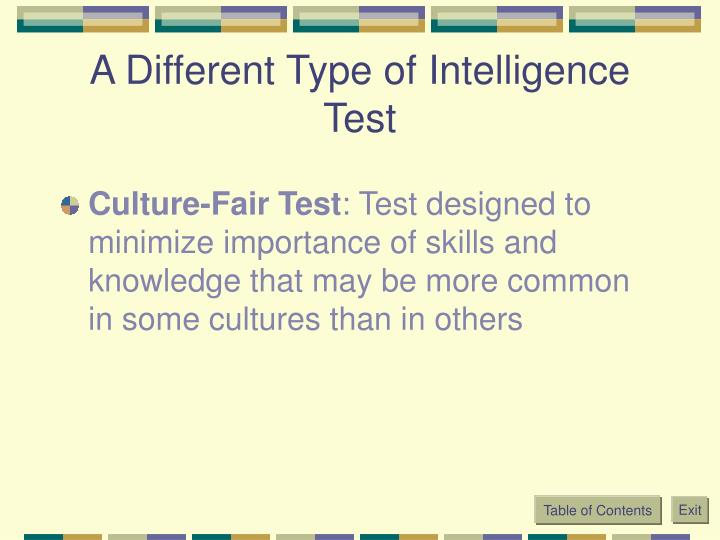 A Different Type of Intelligence Test