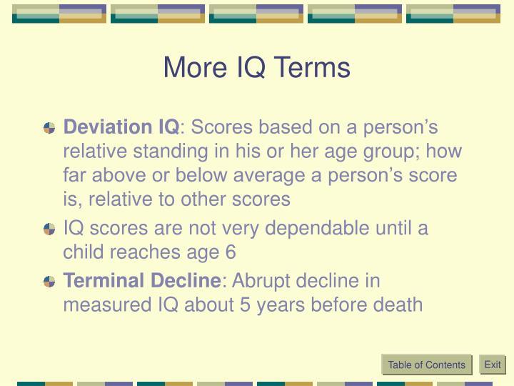 More IQ Terms