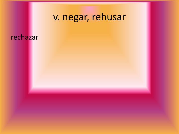 v. negar, rehusar
