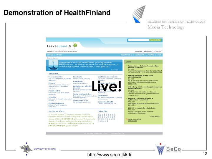 Demonstration of HealthFinland