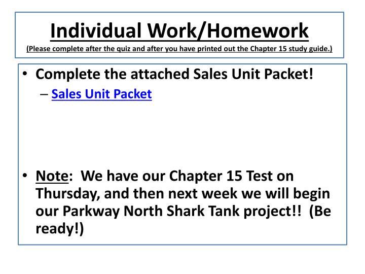 Individual Work/Homework