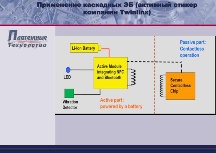 Применение каскадных ЭБ (активный стикер компании