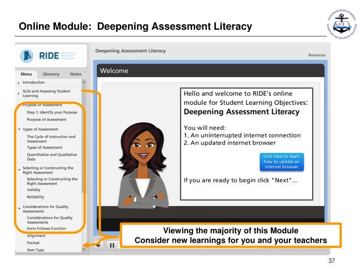 Online Module:  Deepening Assessment Literacy