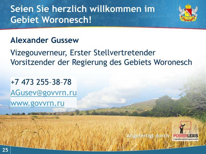 Seien Sie herzlich willkommen im Gebiet Woronesch!