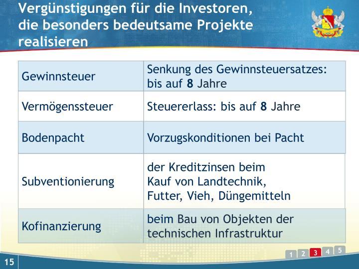 Vergünstigungen für die Investoren