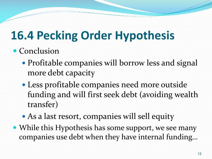 16.4 Pecking Order Hypothesis