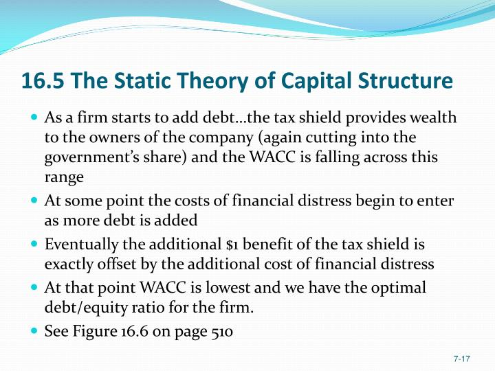 16.5 The Static Theory of Capital Structure
