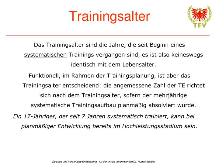 Trainingsalter