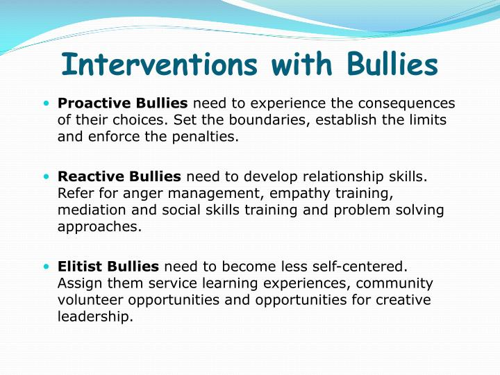 Interventions with Bullies