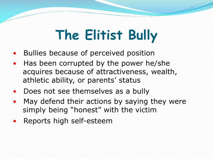 The Elitist Bully